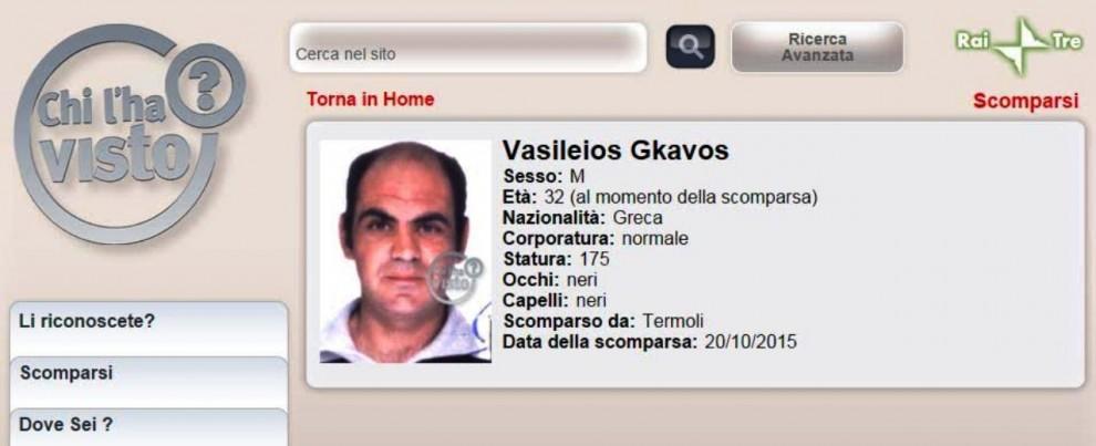 Rintracciato a Vasto Marina il greco Vasileios Gkavos