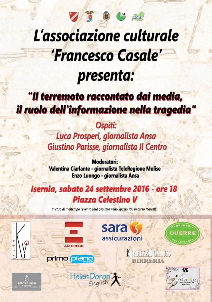 Giornalismo e racconto del sisma, l'evento dell'associazione 'Casale' sabato ad Isernia