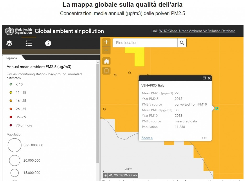 Inquinamento, pure l'Organizzazione mondiale della sanità monitora Venafro