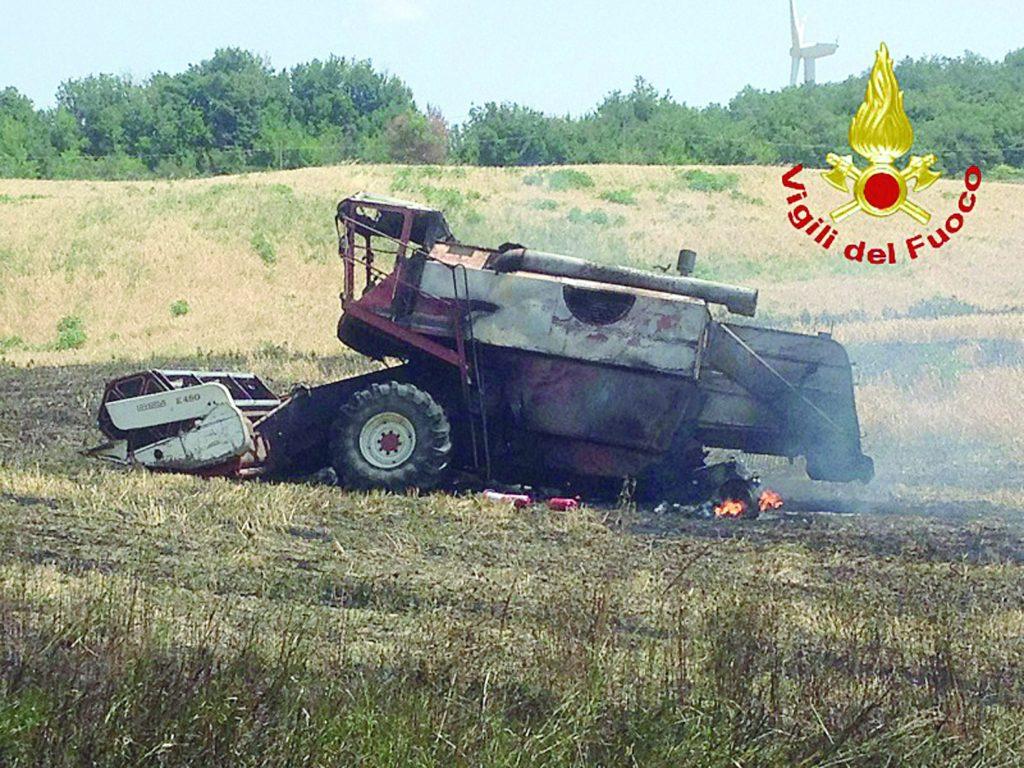 San Martino in Pensilis, in fumo 11 ettari coltivati a grano e orzo: le fiamme distruggono una mietitrebbia
