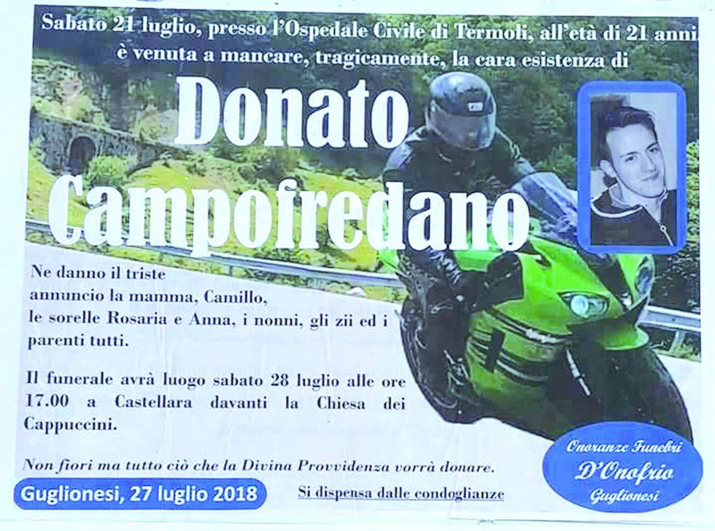 Guglionesi, oggi a Castellara i funerali di Donato Campofredano