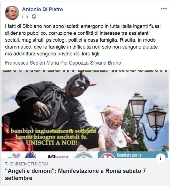 Di Pietro e la gaffe sui Misteri: non gestisco io le mie pagine social