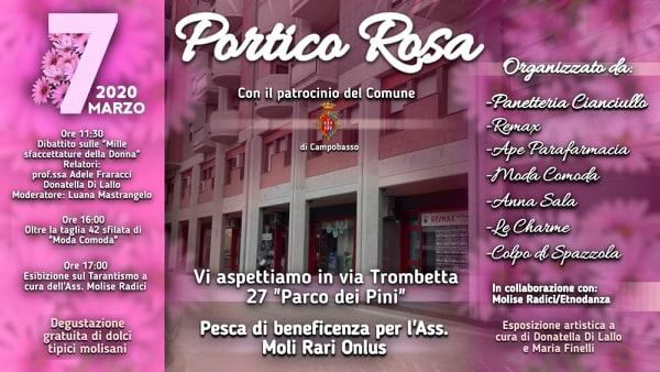 Il Portico di via Trombetta si tinge di rosa per rendere omaggio alle donne